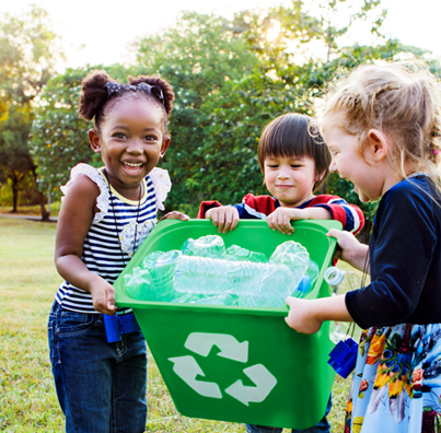 Kids helping recycle