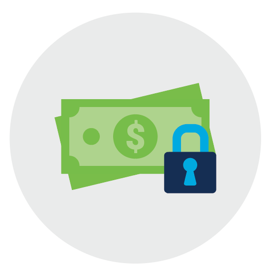 Cash and lock icon